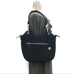 The Sak Black Crocheted Hobo Handbag